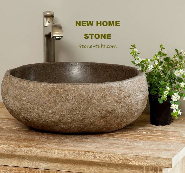 Online Shop River Stone Bowl Sink Natural Hand Carved River Stone Bowl Sinks  Dark Chocolate Coloured Round Chiseled Exterior Stone Bowl Sink |  Aliexpress ...