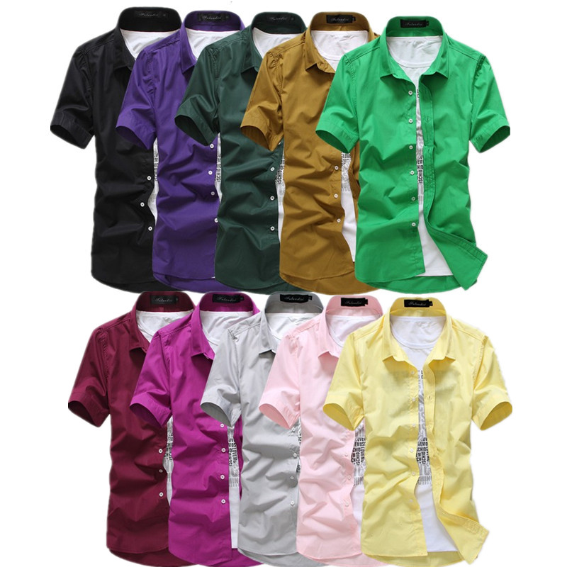 Nya 2017 herr-kortärmade klänningskjortor Mode casual Slim Fit-bomullskjortor för vårsommar 15 färger gratis frakt