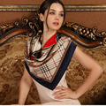 Mulheres Lenço De Seda 2016 Lenço Da Forma Das Mulheres Marca De Luxo Xadrez Lenço Lenço de Seda Lenço de Seda Quadrado para As Mulheres Muçulmanas