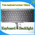 "Brand New SP Spanish keyboard+Backlight Backlit+100pcs keyboard screws For MacBook Air 11.6"" A1370 A1465 2010-2015 Years"