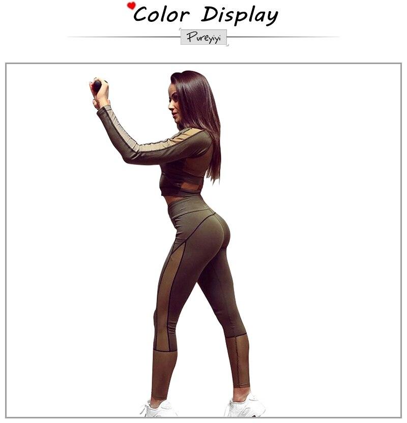 Long Sleeve Crop Tops Mesh Patchwork Elastic Leggings 2 Pieces Set 2018 Summer Autumn Women Fashion Sportswear Casual Sets (2)