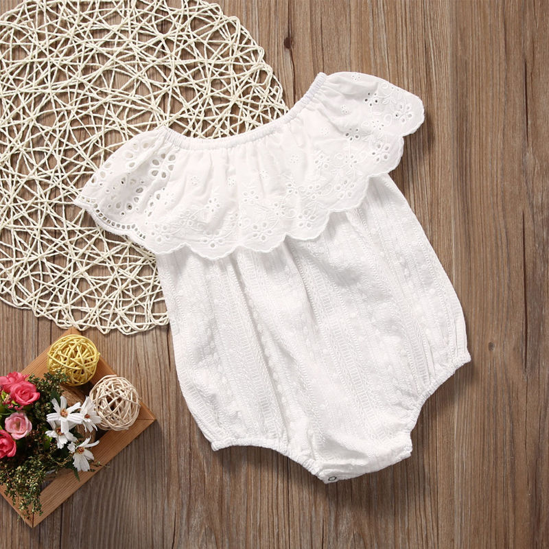 2017 Summer Newborn Toddler Baby Girl Romper Jumpsuit Off Shoulder White Sunsuit Infant Clothes Outfit