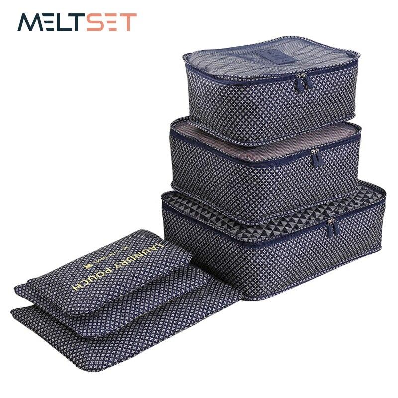 6 unids/set viajes organizador bolsas de almacenamiento de equipaje portátil organizador de ropa ordenado bolsa maleta embalaje bolsa de lavandería de almacenamiento