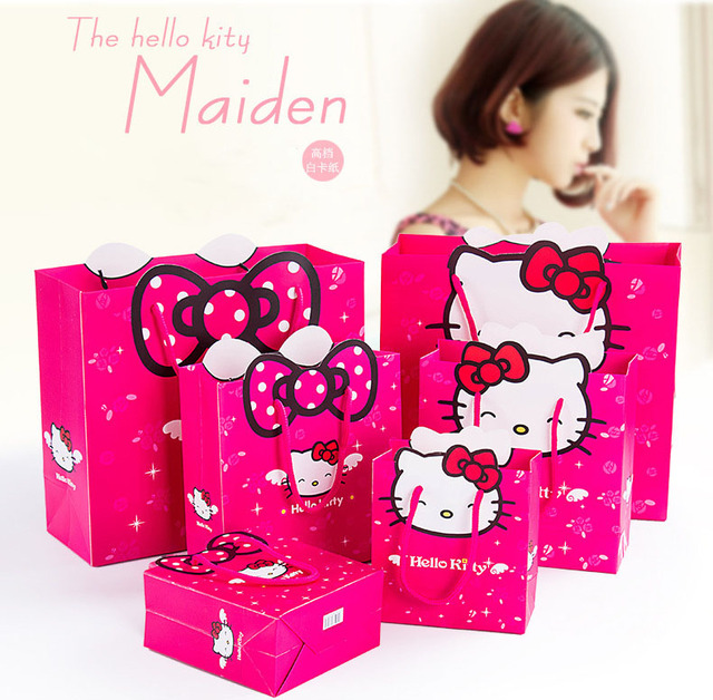 6d4c90bae3cf pouches 3 size Gift bag Hello Kitty cartoon packing Environmental safety paper  bag package for girls