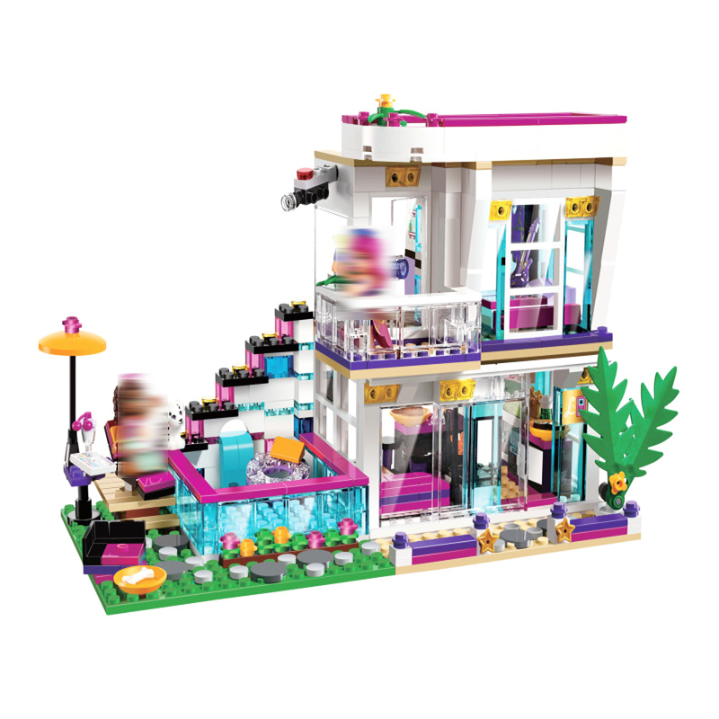 AIBOULLY <font><b>10498</b></font> Friends Series Livi's Pop Star House Building Blocks Andrea mini-doll figures 41135 Toys For Children image