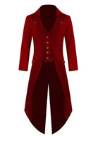 Free Shipping Men's Steampunk Vintage Tailcoat Jacket Gothic Victorian Frock Red Coat and Vest Uniform Costume For Halloween