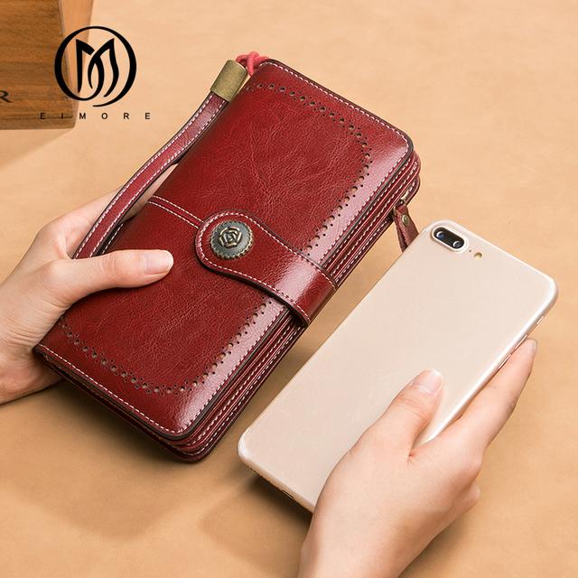 EIMORE Women Clutch 2018 New Wallet Split Leather Wallets Female Long Wallet Women Zipper Purse Money Bag For iPhone 7 Plus