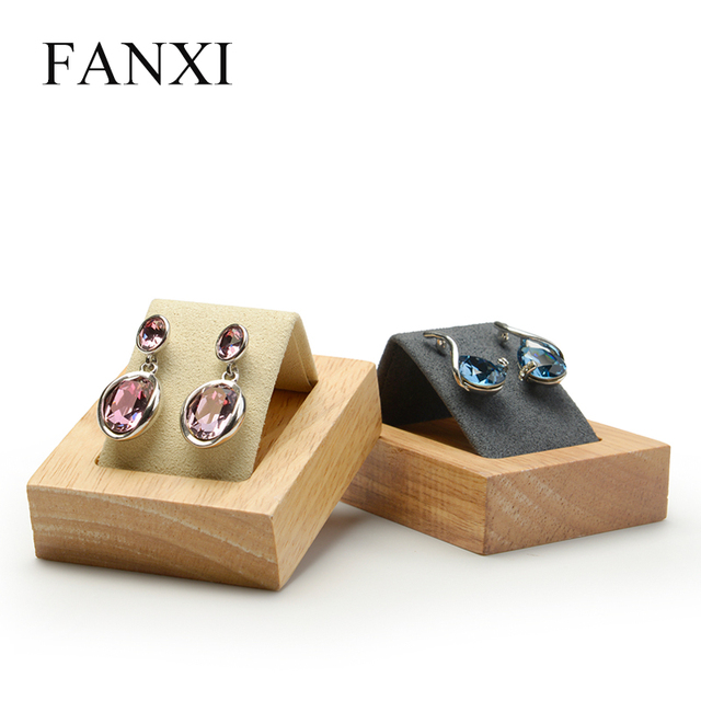 FANXI New Dark Grey or Beige Solid Wood Earrings Display Stand with Microfiber insert Earring Holder Ear Drop Organizer Showcas