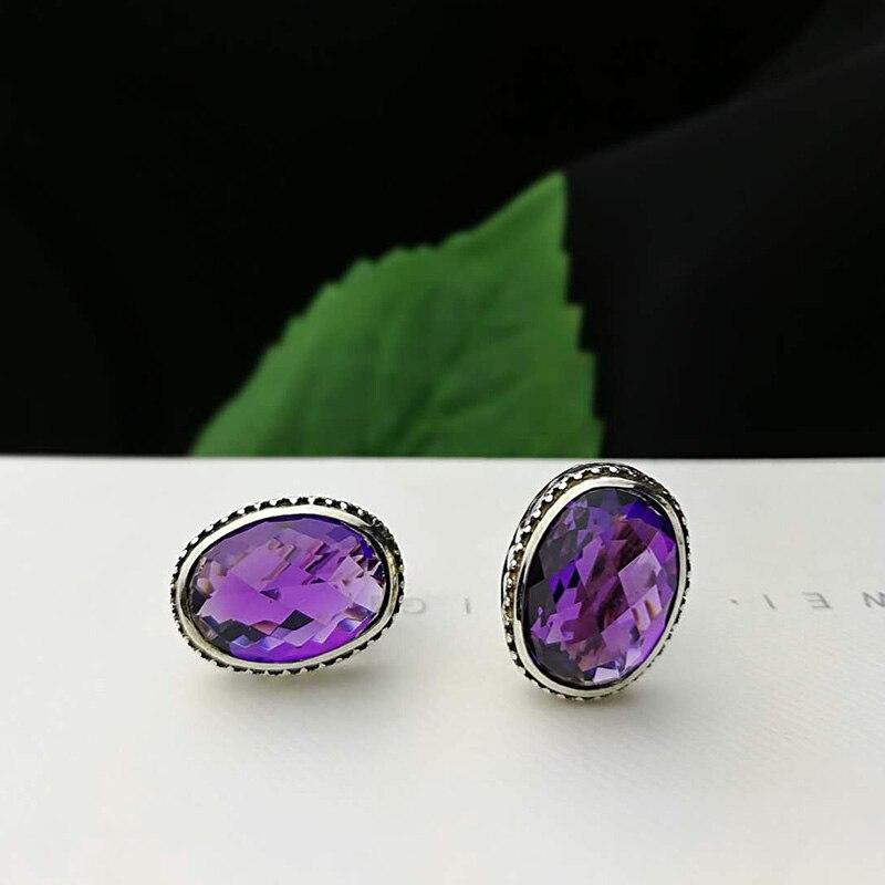 Boucles d'oreilles en argent 925 pierres précieuses naturelles améthyste ovale Vintage boucles d'oreilles pour les femmes meilleurs cadeaux bijoux personnalisés Brincos