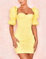 Sexy Women's Dresses Short Sleeve Yellow Mini Vestido Elegant Celebrity Homecoming Evening Party Dress High Quality