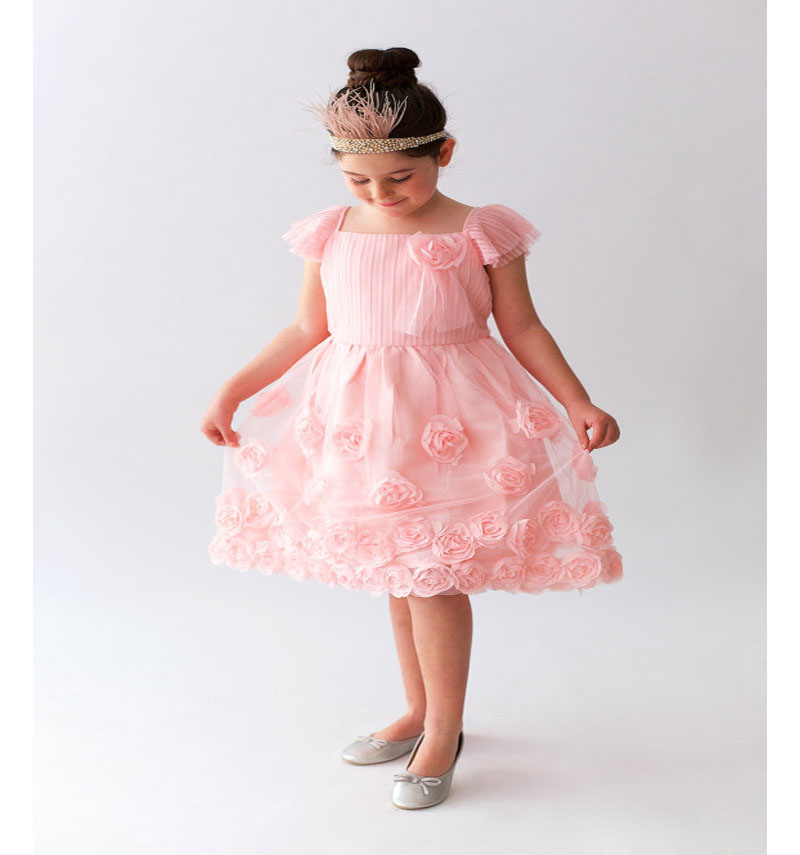 New Flower Girl Dress Tulle Holy Communion Dresses A-Line Cupcake Pageant Dress Mid-Calf Mother Daughter Dresses with Flower