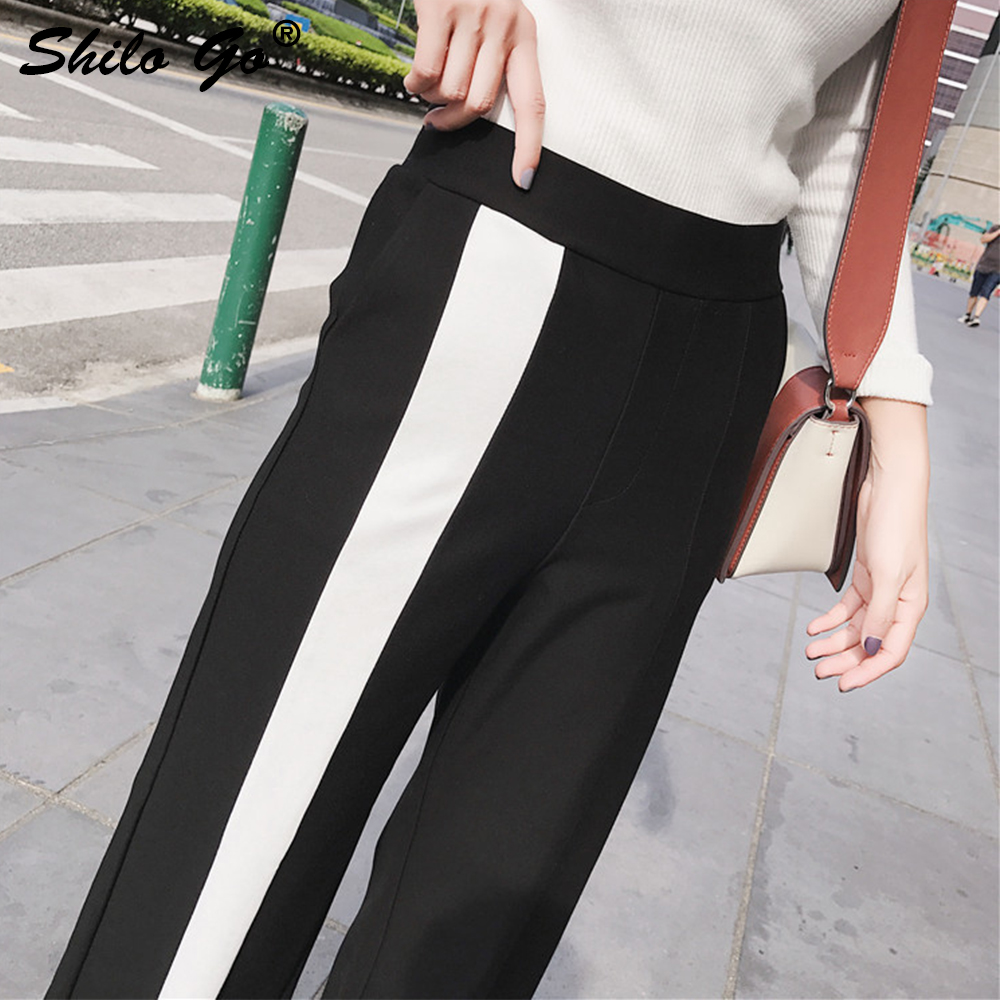 Moda Las Nuevo Cintura Raya Pantalones Blanco 2019 Lado Pierna Mujeres Invierno Amplia Mujer Capris Streetwear Pantalones De Casual Alto Otoño AqZw8Y
