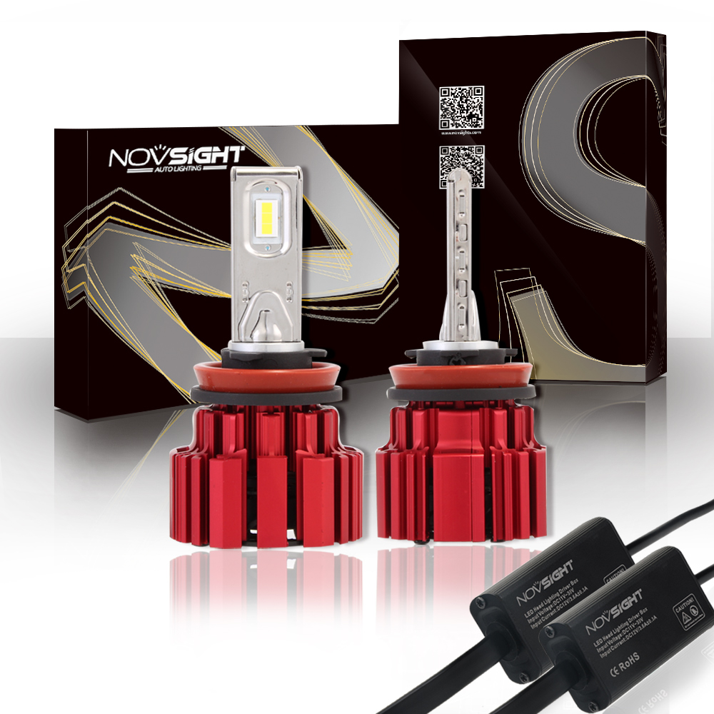 NOVSIGHT Car Headlight H11 LED Auto Light Bulb 80W/set 13600LM Super Bright 12V Automobile Fog Lights Head Lamp Bulb 6000K Light