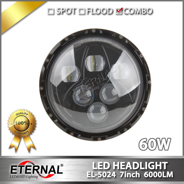 free shipping pair 60W LED headlight 7in headlamp with halo ring white for wrangler rubicon CT TJ JK FJ Miata Harley motorcycle 1 set black projector headlight 7 inch auto headlamp with halo ring for jeep wrangler unlimited rubicon sahara jk harley