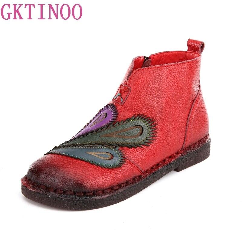 Gktinoo осень-зима смешанные Цвет Для женщин сапоги Ретро Повседневное ручной работы на молнии ботильоны без каблука натуральная женская обув...