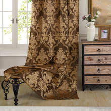 New European Floral Jacquard Window Curtains Luxury Fabric High Quality Light Shading Blinds for Livingroom Chocolate Chinese