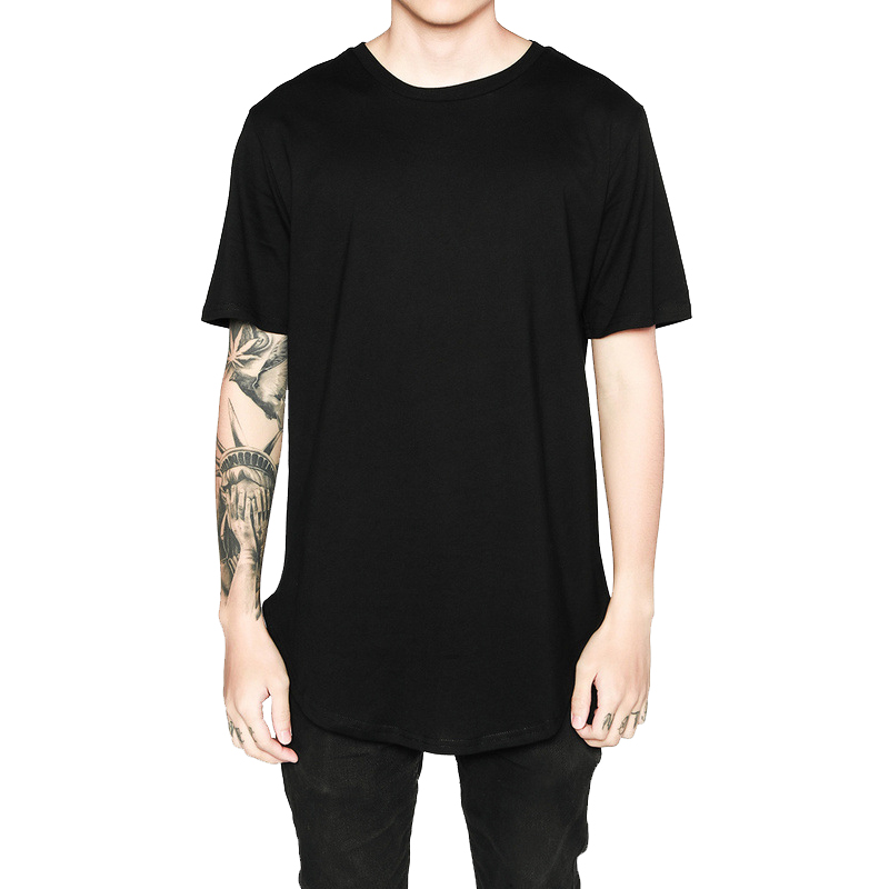 Hip Hop Leisure Style Long Line   T  -  Shirts   Street Wear Clothing Short Sleeve   T     Shirt   Casual Punk tshirt TX135 P