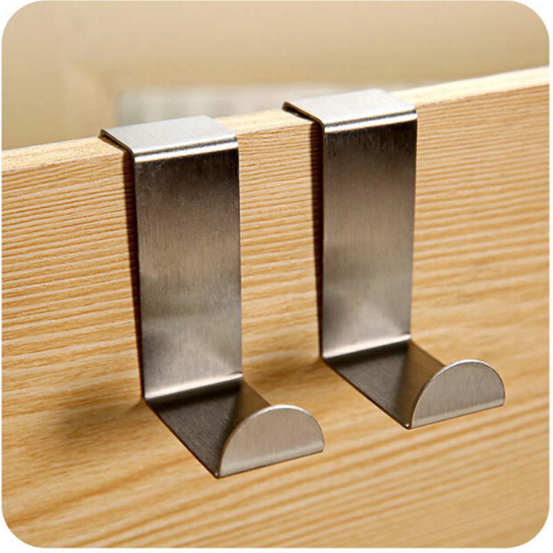 2pcs Stainless steel clothes hook door back type multi-purpose Free nail hooks high quality household Home Storage Organization