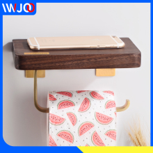 Toilet Paper Holder with Shelf Wood Brass Paper Towel Holder Wall Mounted Bathroom Tissue Roll Paper Holder Phone Rack Decorate
