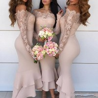 Wedding Guest Dresses Sexy Lace Long Sleeves Ruffles Mermaid Bridesmaid Dress Elegant Ankle Length Bridesmaid Gowns Custom Made