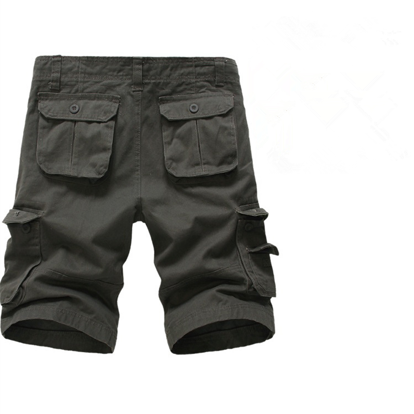 Summer Mens Cargo Pants Knee-Length Loose Multi-Pockets Plus Size Commandos Style Mens Overalls 4 Colors Mens Casual Pants