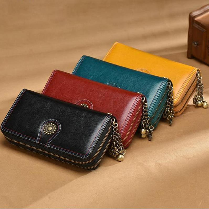 Female Cow Oil Wax Genuine Leather Embroidery Long Wallet Double Zipper Large Capacity Multifunction Purse Lady