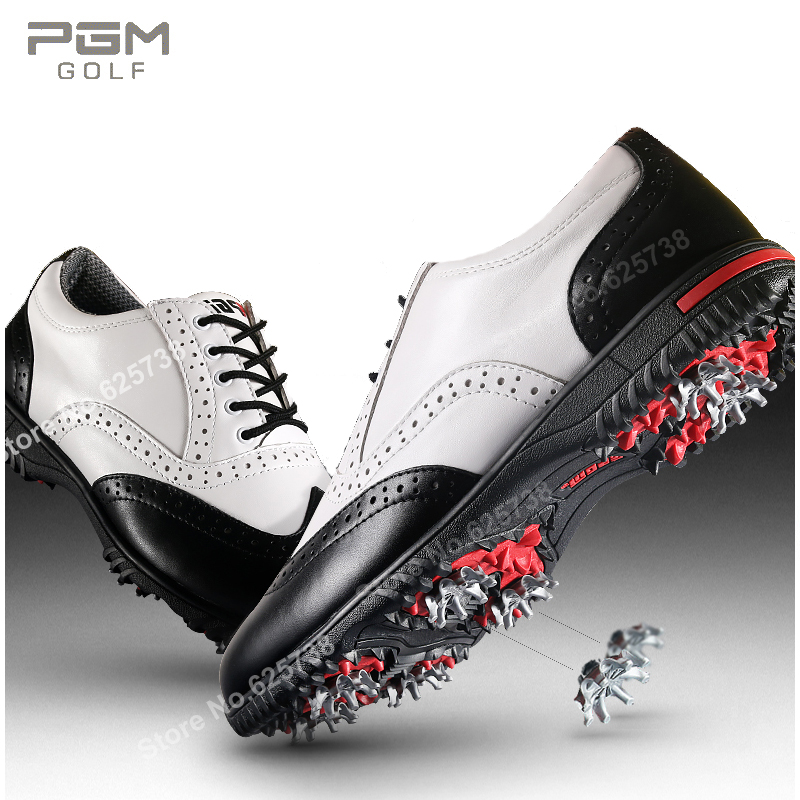 2017 golf shoes waterproof Pgm golf ball shoes Men cowhide spikes leather golf shoes sport shoes golf ball sample display case