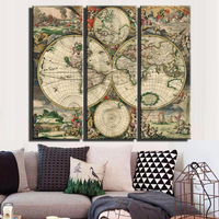 Vintage world map large canvas painting print unframed 3 panel canvas art Antique wall map decor study room