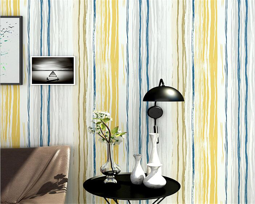 beibehang Nordic style nonwoven personality vertical stripe 3d wallpaper living room bedroom TV background wall store wallpaper