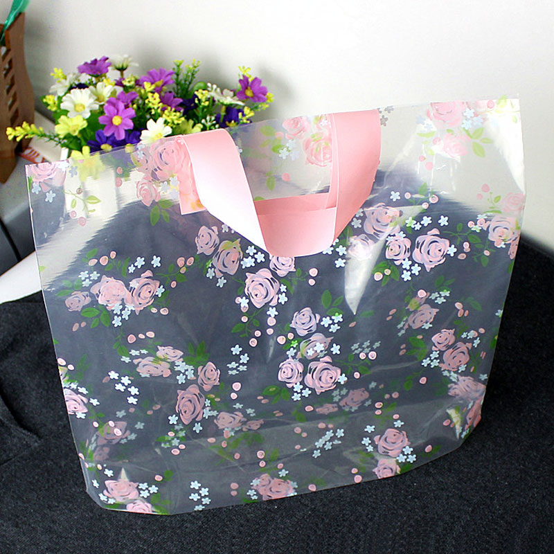 50pcs Lovely Clear Rose Thicken Plastic Gift Bag Carry bag Shopping bag