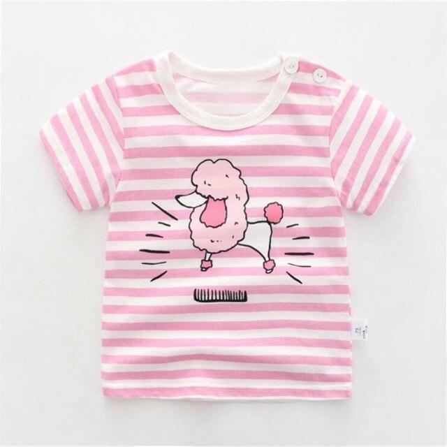 Camiseta para niños, ropa de algodón para niños, camisetas para bebés con apliques de animales, camisetas con rayas y Animalss para niños y niños con nuevo diseño para niños niña