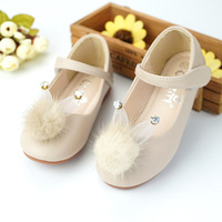 Qloblo 2018 New Party Girls Cute Rabbit Leather Shoes Girls Flower Wedding Children Single Student Princess