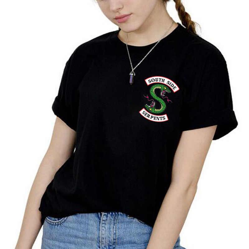 ZSIIBO Riverdale T Shirt Women Plus Size Fashion Tee SouthSide Serpents Jughead Female TShirt Harajuku Streetwear Black T-shirt