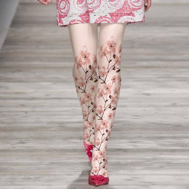 Princesa doce meia calça lolita elegante flor de pêssego pacote pés de veludo impresso calça LWK76