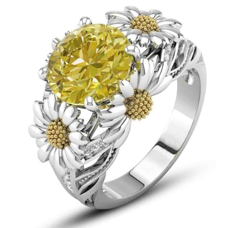 Cool Sparkling Handmade Fashion Jewelry 925 Silver Filled Round Cut Gold AAA CZ Party Chrysanthemum Flower Women Band Ring Gift