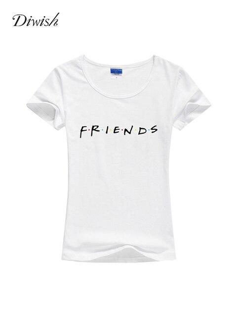 Diwish Summer Tops for Women 2019 Summer Women Short Sleeve Basic Tshirt Plain Casual Letter Printed Friends Tshirt Streetwear