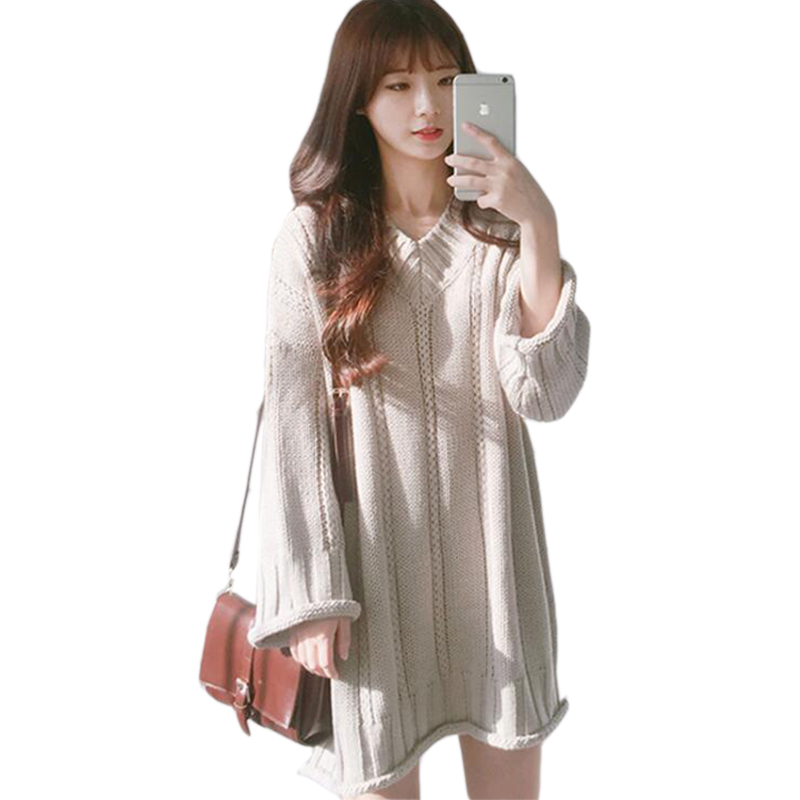 Fashion Autumn Winter Sweater Dress Korean Loose Dress Casual Knitted Sweater Dresses 3 Colors