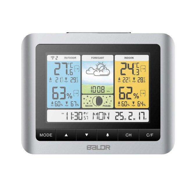 14bdf35d8 Baldr Termómetro Digital Color Pronóstico Estación Meteorológica  Inalámbrica En/Al Aire Libre Temperatura Humedad Sensor