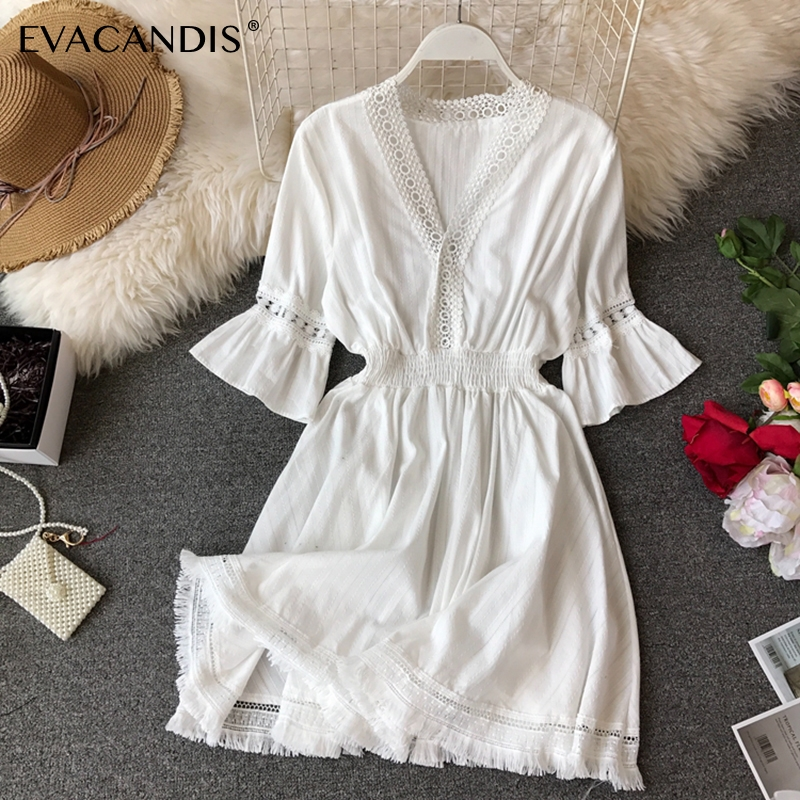 White Ruffle Dress Hollow Out Tassel Tunic V Neck Korean Yellow Pink Black Boho Beach Lace Short Summer Dress Women Vestidos