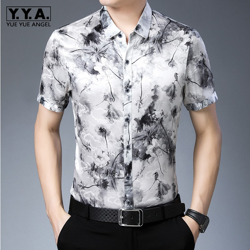 Summer Business Casual 100% Silk Short Sleeve Men Shirt Top Quality Loose Vintage Style Silk Printed Formal Shirt Chemise Homme