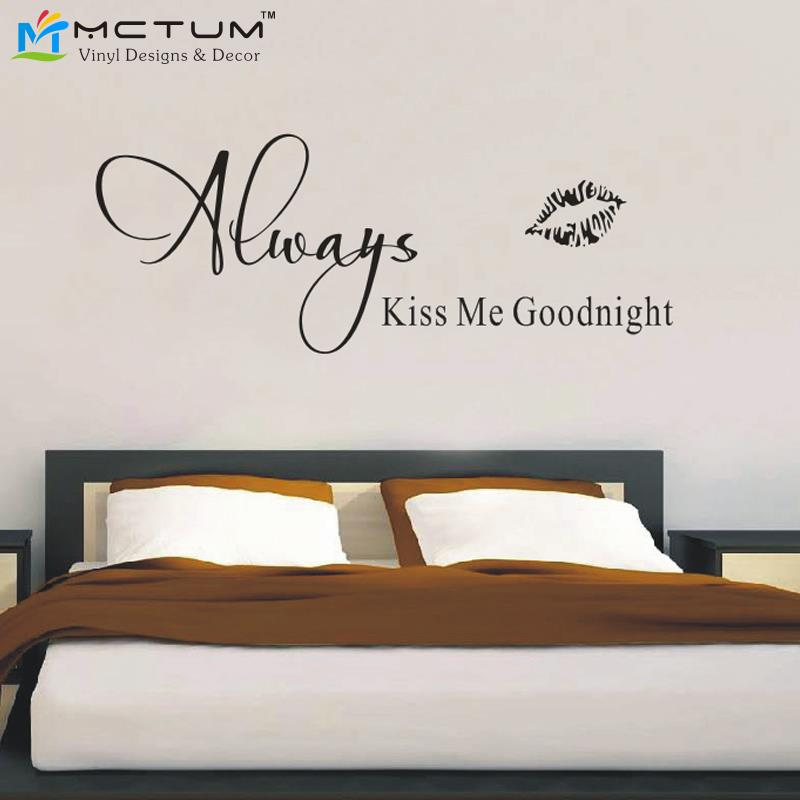 Aliexpress.com : Buy Always Kiss Me Goodnight Vinyl Wall Art Quote  Wallpaper Wall Decal Stickers Bedroom Decor Free Shipping Large Size  58*159cm From ... Part 49