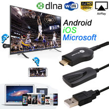 Vovotrade Miracast 1080 P WiFi wyświetlacz przystawka do telewizora bezprzewodowy odbiornik HDMI AirPlay DLNA udział IOS Android Windows i kabel USB(China)