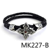 European Restore Ancient Leather Rope Bracelet Titanium Crystal Hand Decorate PUNK Man Women S Stonery Product