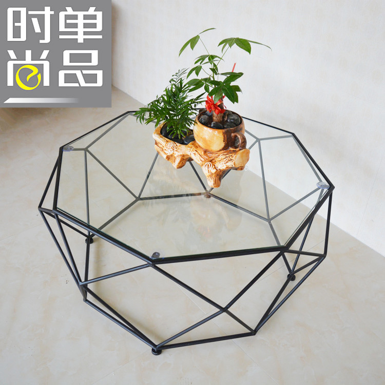 Toughened glass tea table. Wrought iron small family table. Creative art of polygon. Tea table toughened glass small tea table phone sofa the round table