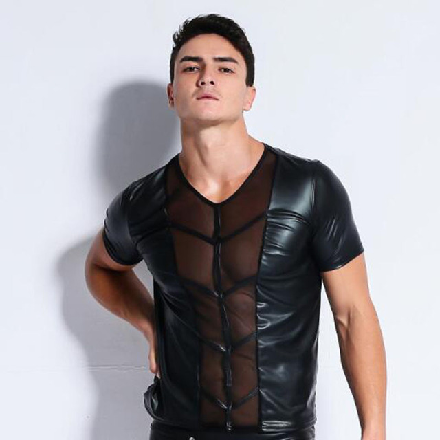 latex men faux leather t shirts Male fashion Undershirts Men black Tees tight shirts Gay Funny corset lace mesh Dancewear