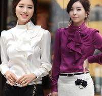 2016 Korean Slim Elegant OL Office Formal OL Flounce Chiffon Shirts Blouse Women Ruffles Long Sleeve