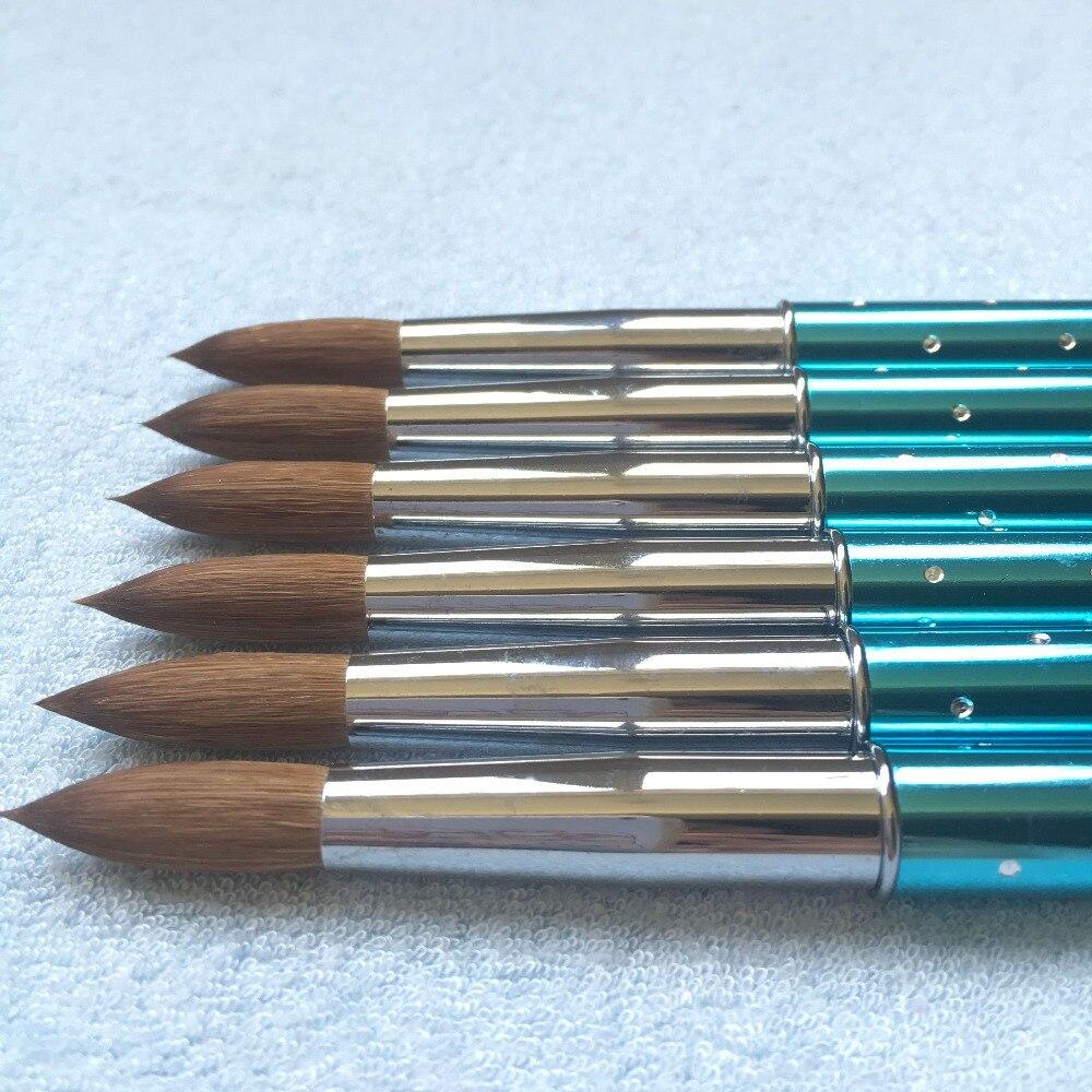 Round 10pcs 6 8 10 12 14 16 18 20 22 Kolinsky Sable Brush Acrylic Nail