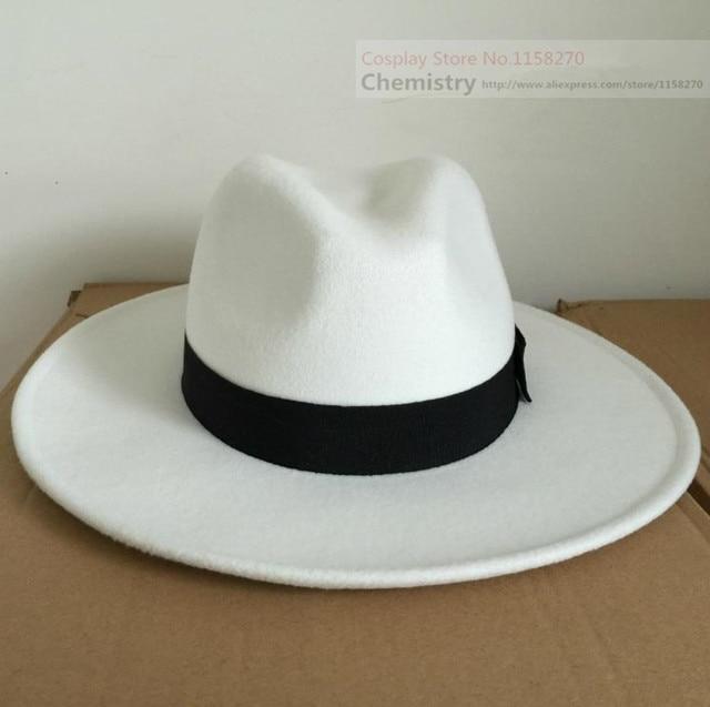 3333e96d6243d Michael Jackson Cosplay sombrero blanco negro en de en AliExpress ...