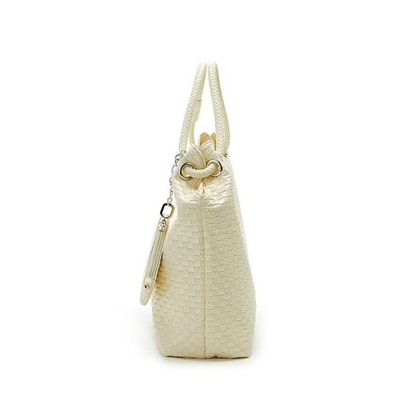 COUPON black white apricot rose red Women Leather handbags Tote hobos Shoulder Bag lady Lovely knitting Weaved Braided Weaving