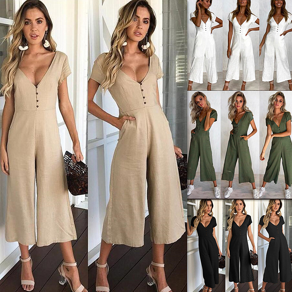 Young Zeal 2019 Calf-Length Pants   Jumpsuit   Women Rompers Short Sleeve V Neck Button Wide Leg   Jumpsuit   With Pocket Casual Overall